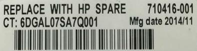 HP notebook battery label
