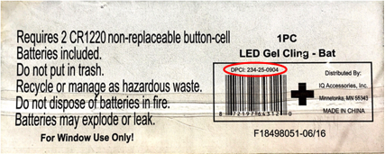 Model number 234-25-0904 is located on the back of the gel cling's package.