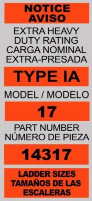 Label on recalled LT model ladders