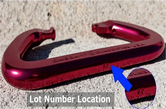 Location for Lot Code on carabiner spine