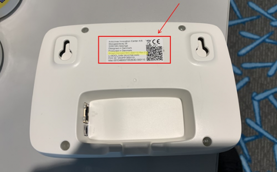 Location of Model number on recalled Anticimex SMART Connect Mini Device