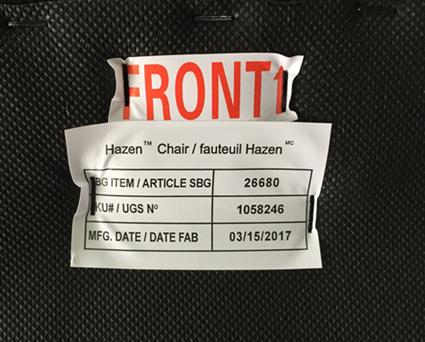 Tag (underside of seat)