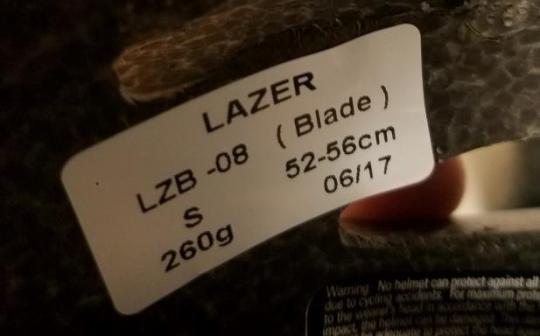 Model LZB-08 is printed on a sticker inside the helmet.
