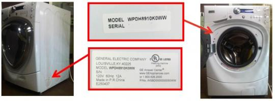 Picture of recalled white washer showing location of model and serial number