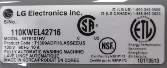 Rating label with the serial number