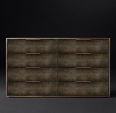 Smythson Shagreen eight drawer dressers in cognac and brass