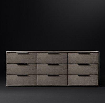 Smythson Shagreen nine drawer dresser in smoke and steel