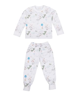 Children's two-piece pajama set in prince land blue print