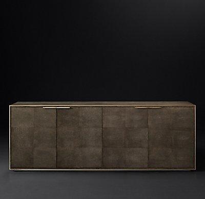 Smythson Shagreen four-door sideboard in cognac and brass