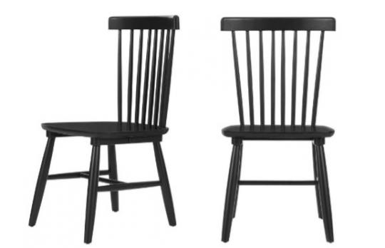 Recalled StyleWell Wood Windsor Dining Chair set - black