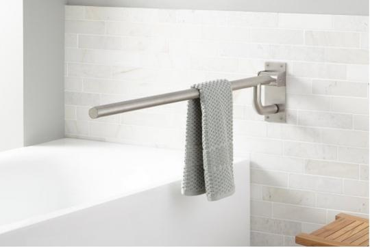 Recalled Pickens Flip Up Towel Grab Bar in Brushed Stainless Steel