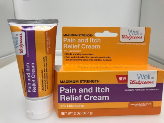 Recalled Well at Walgreens Pain and Itch Relief Cream with 4% Lidocaine