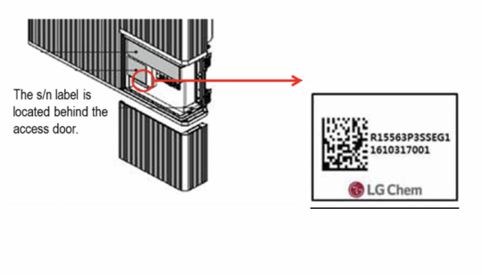 The serial number label is located behind the access door of the recalled RESU 10H home battery.