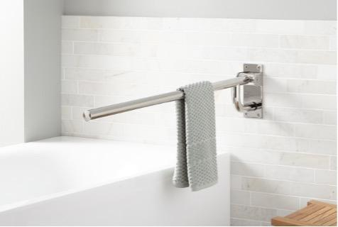 Recalled Pickens Flip Up Towel Grab Bar in Polished Stainless Steel