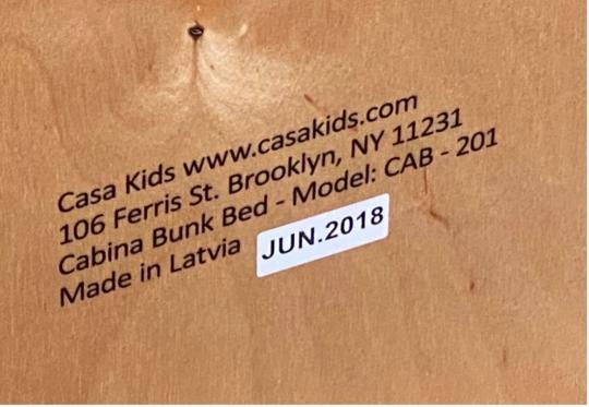 Label of Recalled Casa Kids Cabina Bunk Bed - June 2018