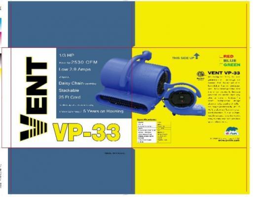 Recalled B-Air VP-33 Blower Fan Packaging