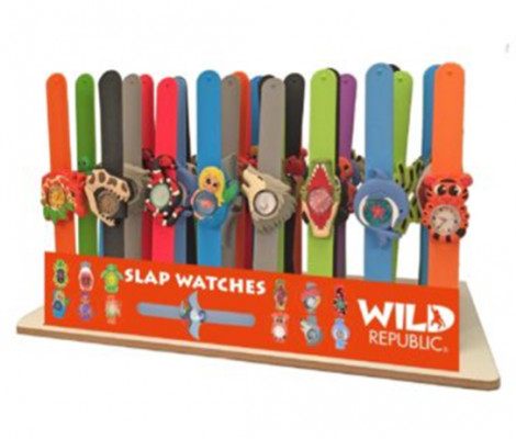 Close up of the recalled Wild Republic Slap Watches