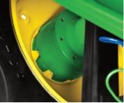 Wheel spacer in the recalled John Deere 4M and 4R series compact utility tractors