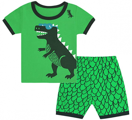 Recalled Tkala Fashion children's pajamas – short sleeves, green dinosaur print