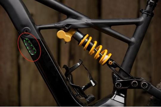Location of recalled battery pack on Turbo Kenevo FSR electric mountain bike