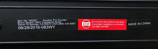 Label on Pulse Performance Krusher Pro Freestyle scooters