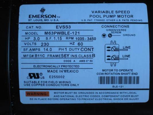 Pool pump motor label