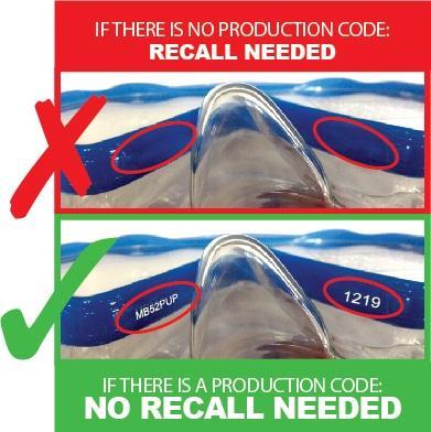 Recalled Santa Cruz Jr. youth snorkeling masks do not have a production code.