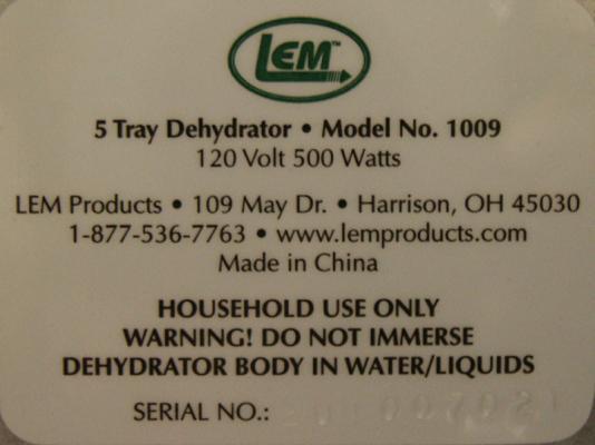 LEM dehydrator label 2 on the rear panel