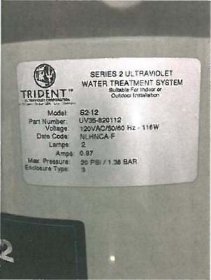"""Label on sanitation system with """"Series 2"""""""