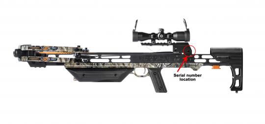 The serial number is located on the underside of the rail directly behind the safety.