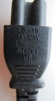 AC end adapter with molded mark