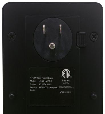 Model name and wattage are printed on a label on the back of each heater.