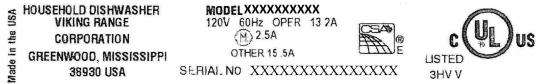 Identification plate with model number and serial number