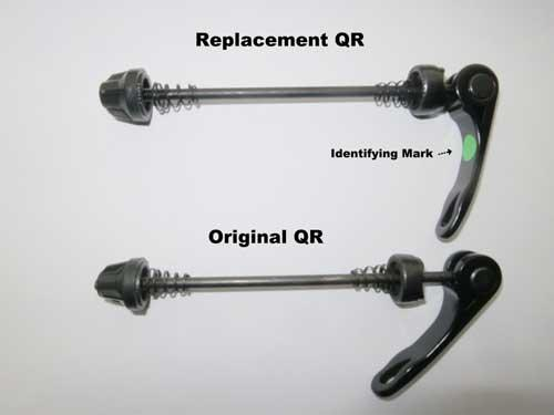 Quick release lever in closed position