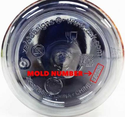 Location of mold number on Zak Designs water bottle