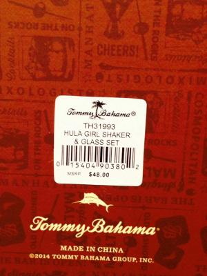Tommy Bahama  Shaker Set Product  Label on the Bottom of Product Packaging