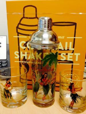 Tommy Bahama Hula Girl Shaker & Glass Set
