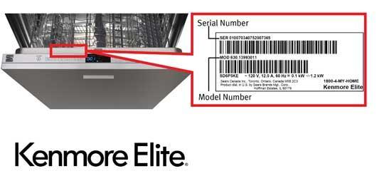 Kenmore Elite dishwasher model and serial number location