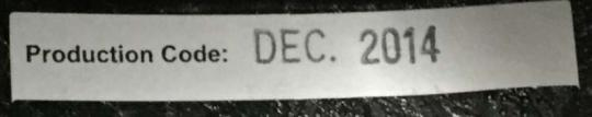 """""""Production Code: Dec. 2014"""" is printed on a sticker that can be found by lifting the lining above the right earpiece."""