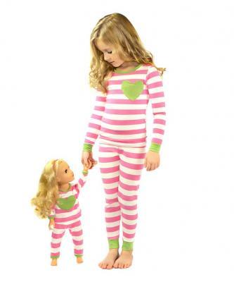 Pink and white pajamas