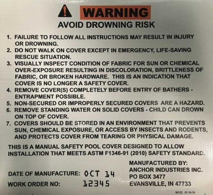 Warning Label with Date of Manufacture