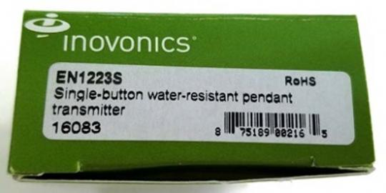 Inovonics transmitters and receivers date code label location (carton)