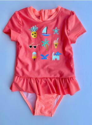 "Recalled Cat & Jack ""Coral Icon Story Hawaiian"" One-Piece Rashguard Swimsuit"