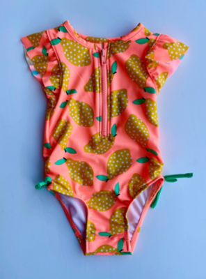"Recalled Cat & Jack ""Moxie Peach Lemon"" One-Piece Rashguard Swimsuit"