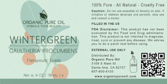 Recalled Organic Pure Oil Wintergreen Essential Oil label