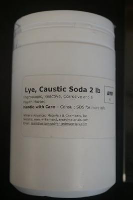 Recalled Williams Advanced Materials & Chemicals – Sodium Hydroxide (Lye, Caustic Soda) jar