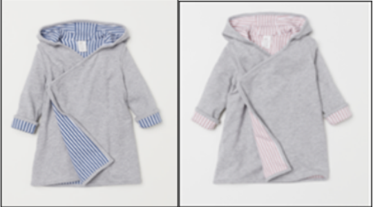 Recalled gray children's hooded bathrobe in blue or pink
