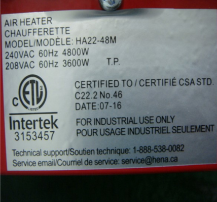 Label on back of recalled electric heater