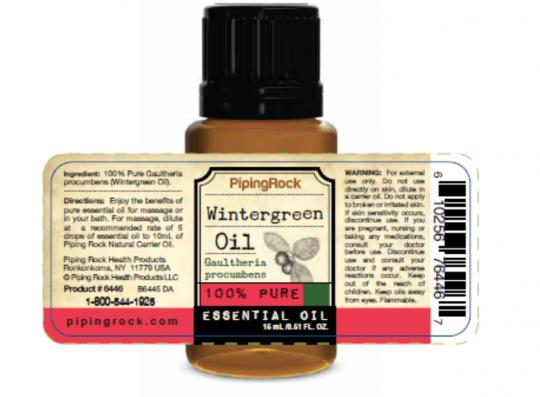 PipingRock wintergreen 100% pure essential oil – label