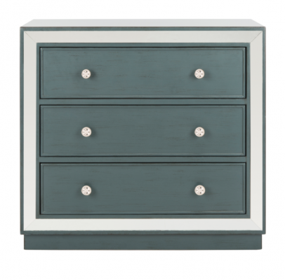 Recalled chest with steel teal drawers with mirror finish (Model Number CHS6403C)